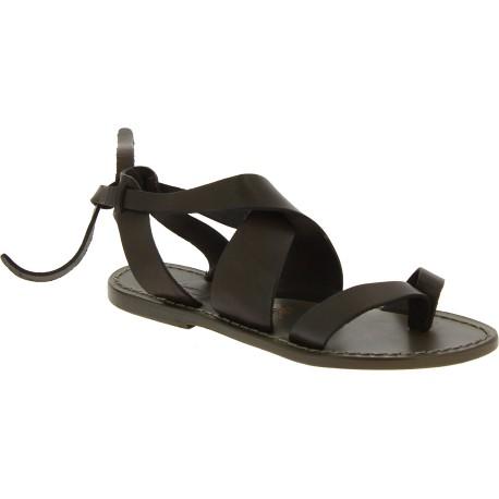 Damen Sandalen aus Schlammfarbe Leder flach in Italien von Handgefertigt