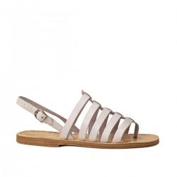 Flache weiße Sandalen für Damen aus echtem Leder Hand gefertigt in Italien