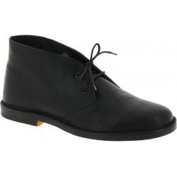 Women's black leather chukka boots handmade in Italy