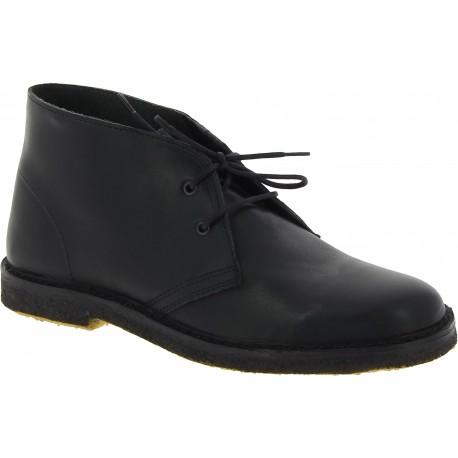 Desert boots femme en cuir noir artisanales fabriqué en Italie