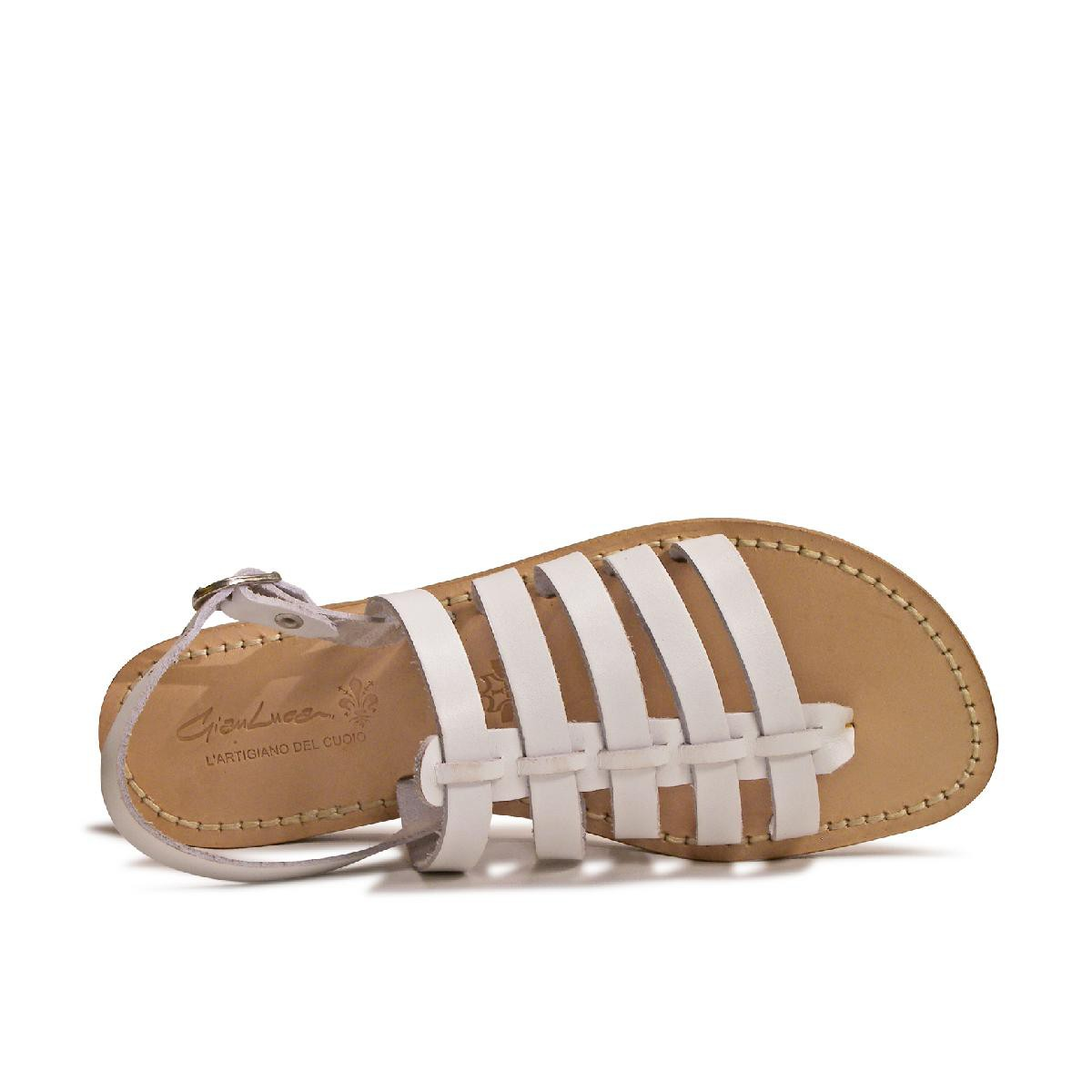 be0aad4dfc28 Flat white sandals for women in real leather Handmade in Italy. Previous.  Next