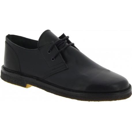 Chaussures basses femme en cuir noir artisanales fabriqué en Italie