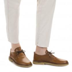 Chaussures basses femme en cuir marron artisanales fabriqué en Italie