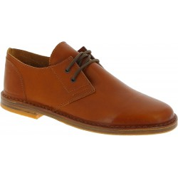 Women's tan leather low top shoes handmade in Italy