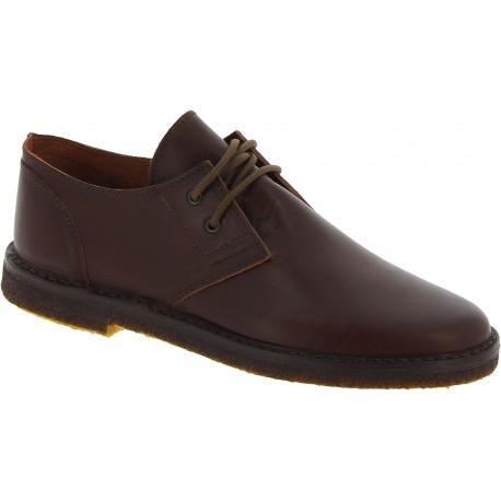 Chaussures basses femme en cuir marron foncé artisanales fabriqué en Italie