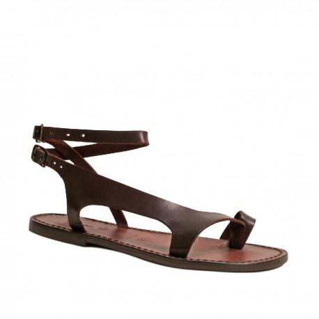 Sandalias de piel marrón para las mujeres hecho a mano en Italia