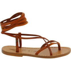 Women's brown leather flat strappy sandals handmade in Italy