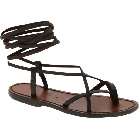 Dark brown leather flat strappy sandals handmade in Italy
