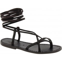 Black strappy flat sandals for women handmade in Italy