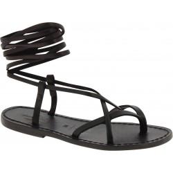 Sandalias tiras planas de cuero negro para mujer hechas a mano en Italia