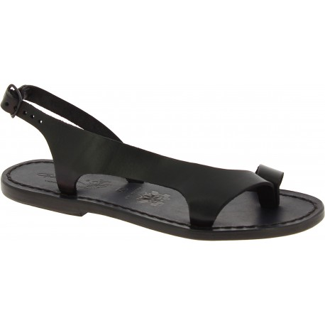 Black leather thong sandals for women Handmade in Italy