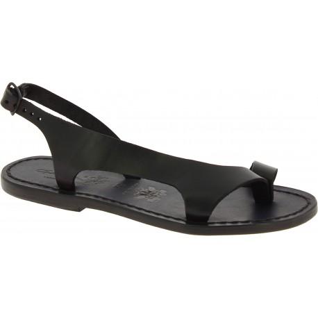 Riemchen-Sandalen für Damen aus Schwarze Leder in Italien von Handgefertigt
