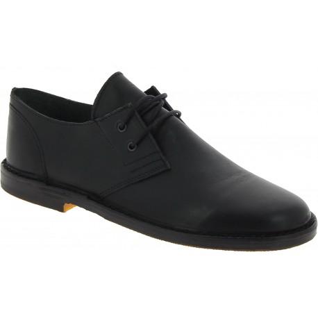 Chaussures basses homme en cuir noir artisanales fabriqué en Italie