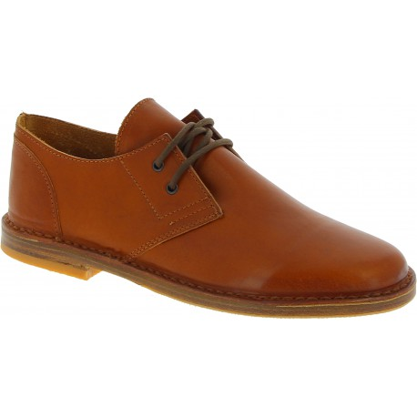 Chaussures basses hombre en cuir marron artisanales fabriqué en Italie