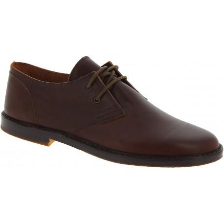 Zapatos bajos para hombre de cuero marrón oscuro Hecho a mano en Italia