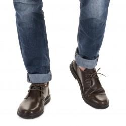 Scarpe basse da uomo in pelle marrone scuro fatte a mano in Italia