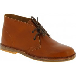Women's tan leather chukka boots handmade in Italy