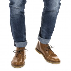Desert boots homme en cuir marron artisanales fabriqué en Italie
