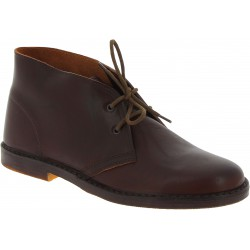 Women's dark brown leather chukka boots handmade in Italy