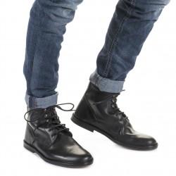 Herren stiefeletten aus Schwarz Leder Handgefertigt in Italien