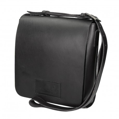 Black leather shoulder bag long strap Handmade