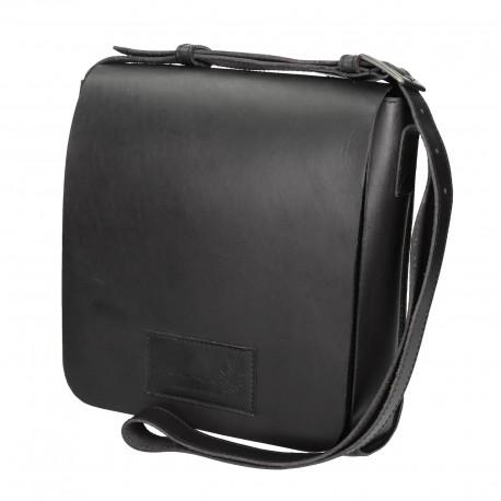 Hand gefertigte Schulter-Tasche aus schwarze Leder