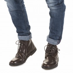 Men's dark brown leather ankle boots handmade in Italy