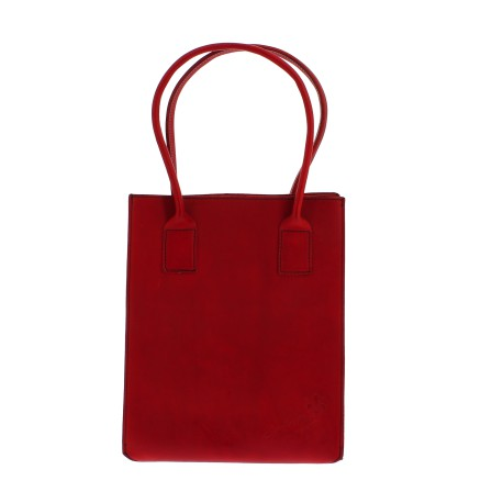 Cabas en cuir rouge pour femmes fait à la main