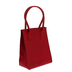 Red leather small tote bag for women handmade