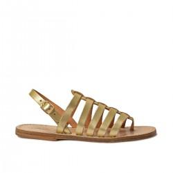 Goldene flache Sandalen aus echtem Leder Hand gefertigt in Italien