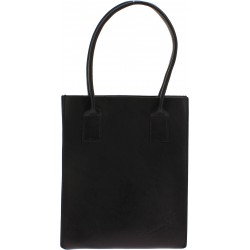 Shopping bag nera in vera pelle di vacchetta