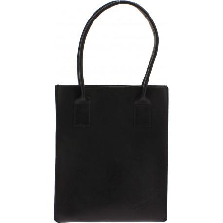 Handgefertigte Shopping-Tasche für Damen aus Schwarzem Leder