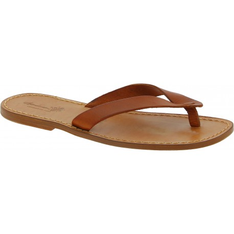 Handmade tan leather thong sandals for men Made in Italy