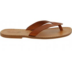 Handgefertigte Lederfarbig flip flops Herren-Sandalen mit Leder-Reimen