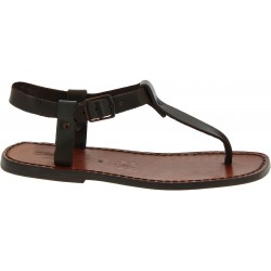 Handmade men's brown leather thong sandals