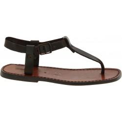 Sandalias de dedo de cuero marrón para hombres