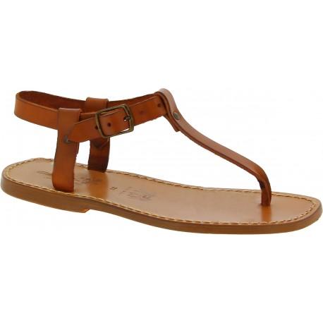 Sandalias de dedo de cuero marrón claro para hombres