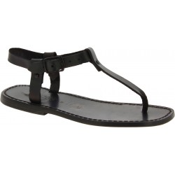 Sandales tong en cuir noir pour homme artisanales