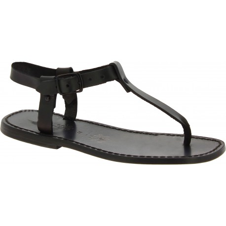 Handmade men's black leather thong sandals