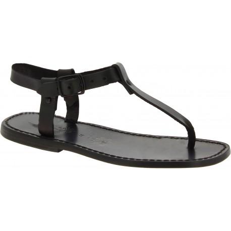 Sandalias de dedo de cuero negro para hombres