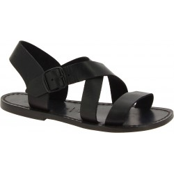 Sandali alla francescana donna in pelle nera artigianali