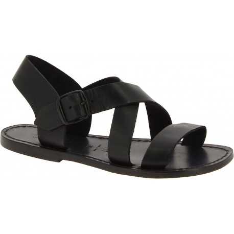 Black leather women's sandals handmade in Italy