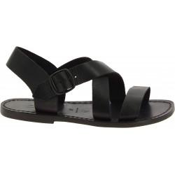 Sandalias en cuero negro para mujer hechos a mano en Italia