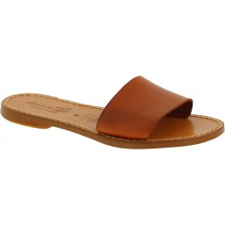 Women's leather slide sandals in tan leather handmade