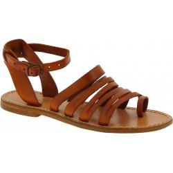 Sandales tong pour femme en cuir marron travaillé à la main
