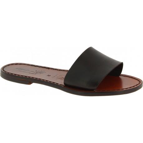 Women's leather slides sandals in dark brown leather handmade