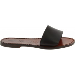 Women's leather slides sandals in dark brown leather handmade