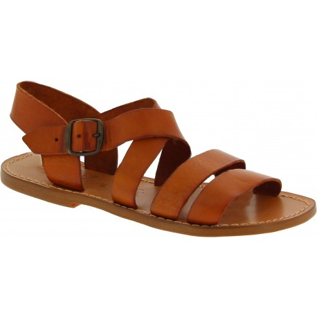 Genuine tan leather women's franciscan sandals handmade in Italy