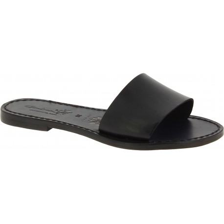 Women's leather slides sandals in black leather handmade