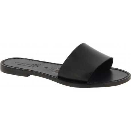 Zapatillas romanas de cuero negro para mujer hecho a mano